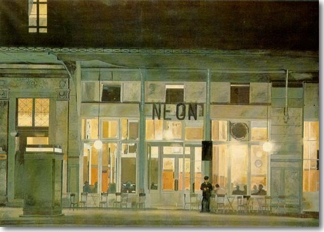 Τσαρούχης-Γιάννης-Το-καφενείο-Νέον-τη-νύχτα